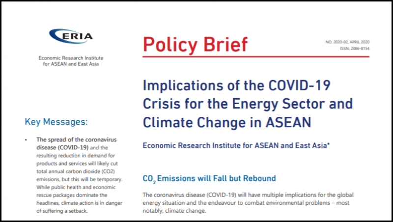 [Policy Brief] Implications of the COVID-19 Crisis for the Energy Sector and Climate Change in ASEAN