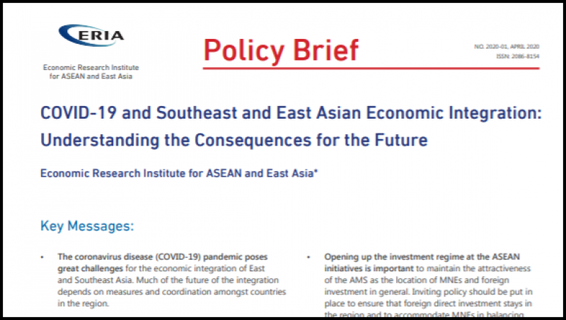 [Policy Brief] COVID-19 and Southeast and East Asian Economic Integration: Understanding the Consequences for the Future