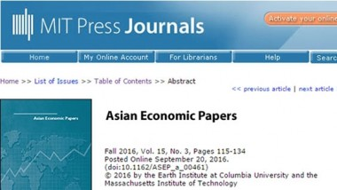 ERIA Economist Published in MIT Press Journals