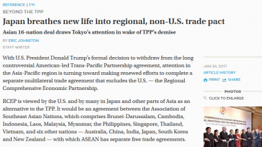Japan Breathes New Life into Regional, Non-U.S. Trade Pact