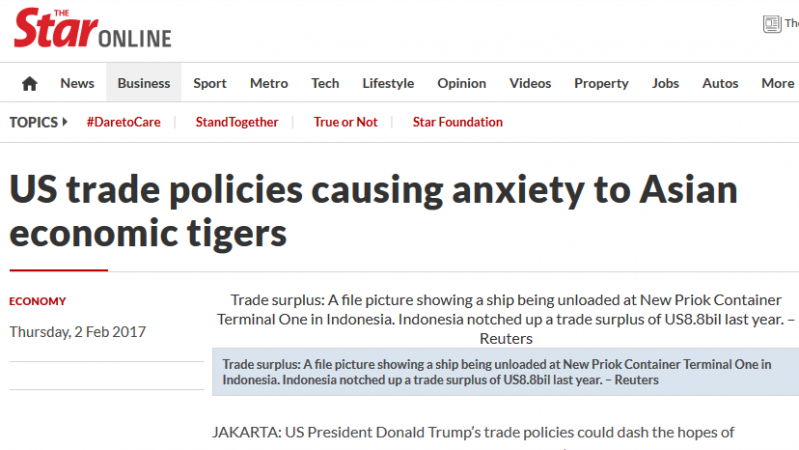 US Trade Policies Causing Anxiety to Asian Economic Tigers