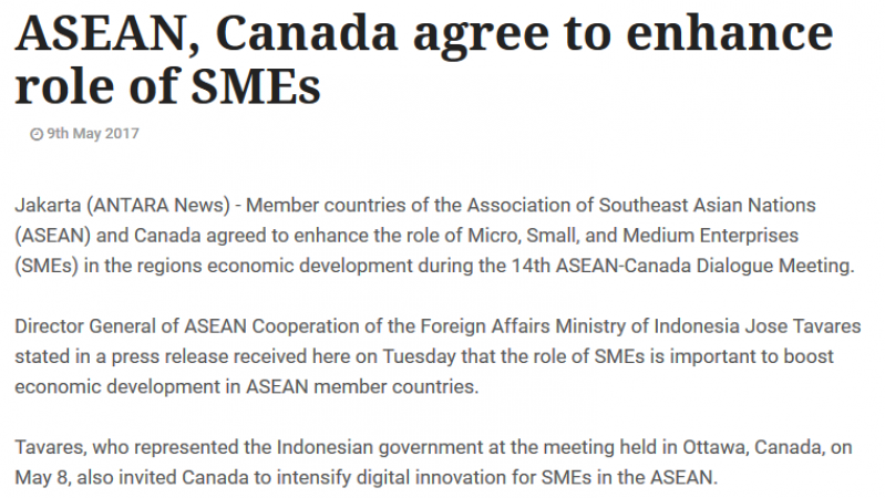Article - ASEAN, Canada agree to enhance role of SMEs