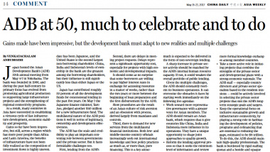 Opinion Piece - ADB at 50, much to celebrate and to do