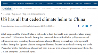 Opinion Piece - US has all but ceded climate helm to China