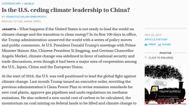 Opinion Piece - Is the U.S. ceding climate leadership to China?