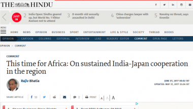 Article - This time for Africa: On sustained India-Japan cooperation in the region