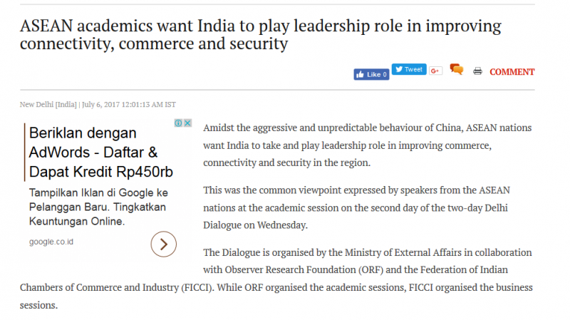 Article - ASEAN academics want India to play leadership role in improving connectivity, commerce and security