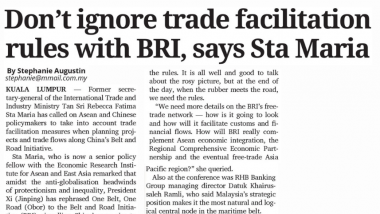 Article - Don't ignore trade facilitation rules with BRI, says Sta Maria