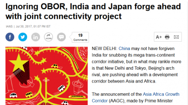 Article - Ignoring OBOR, India and Japan forge ahead with joint connectivity project