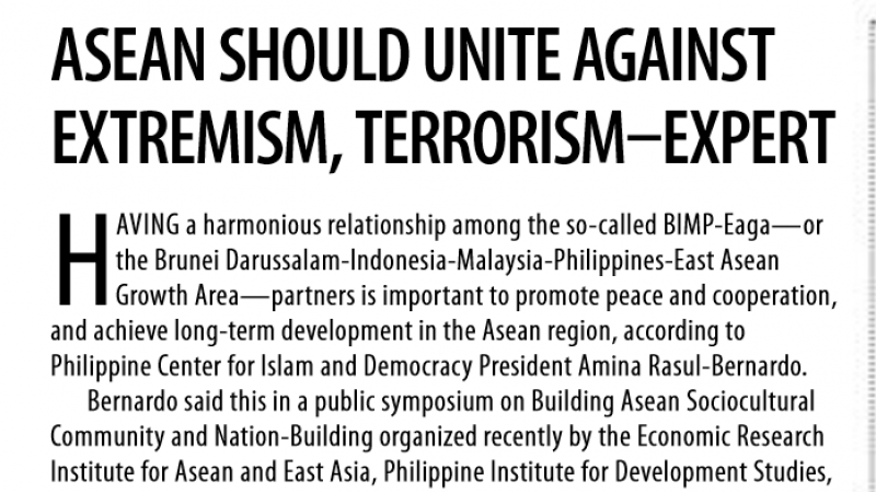 Article - Asean should unite against extremism, terrorism-expert