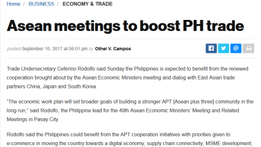 Article - Asean meetings to boost PH trade