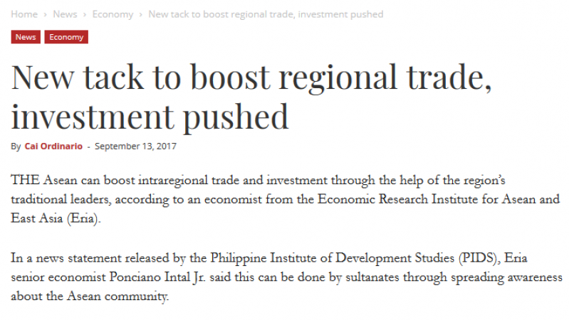 Article - New tack to boost regional trade, investment pushed