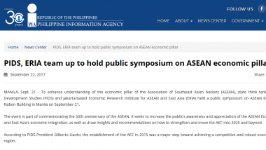 Article - PIDS, ERIA team up to hold public symposium on ASEAN economic pillar