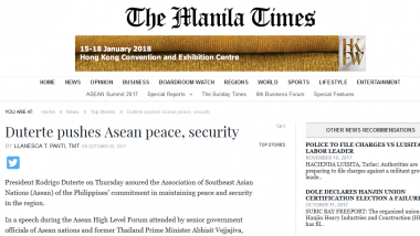 Article - Duterte pushes Asean peace, security
