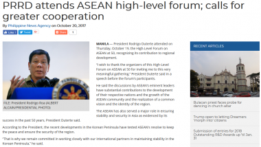 Article - PRRD attends ASEAN high-level forum; calls for greater cooperation