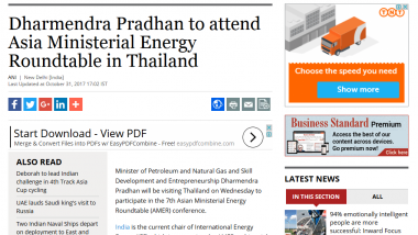 Article - Dharmendra Pradhan to attend Asia Ministerial Energy Roundtable in Thailand