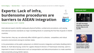 Article - Experts: Lack of infra, burdensome procedures are barriers to ASEAN integration