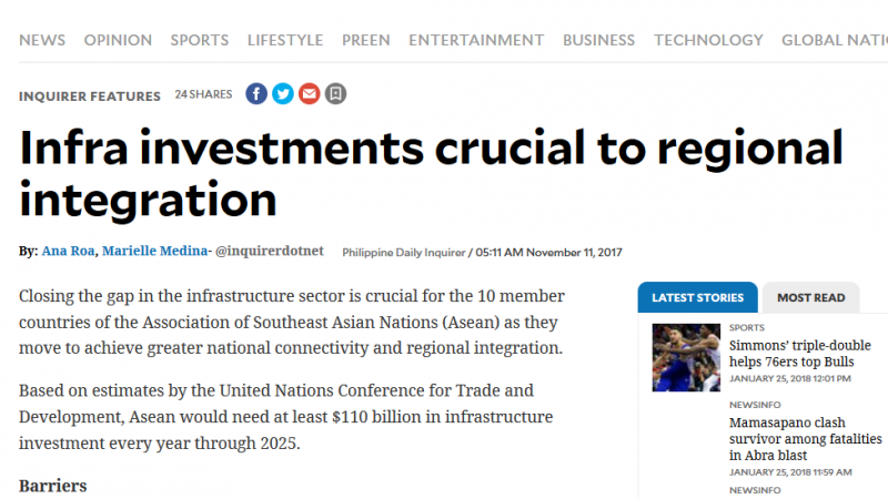 Article - Infra investments crucial to regional integration