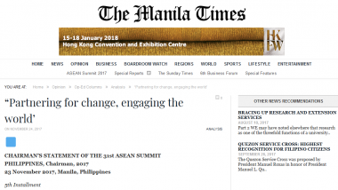Article - Chairman's Statement of the 31st ASEAN Summit