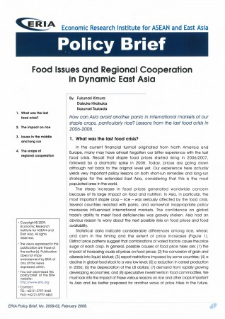 Food Issues and Regional Cooperation in Dynamic East Asia