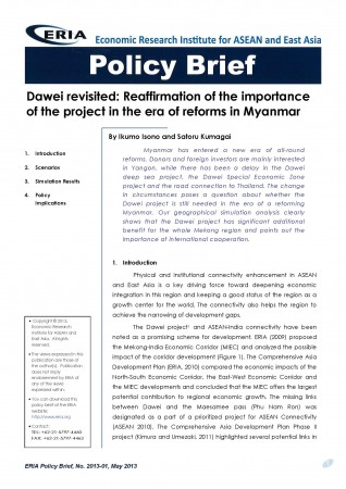 Dawei Revisited: Reaffirmation of the importance of the project in the era of reforms in Myanmar
