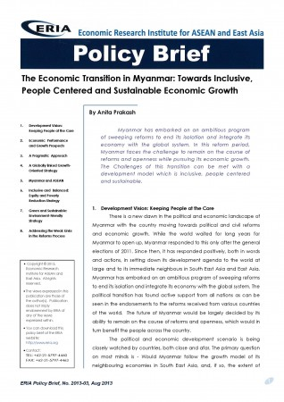 The Economic Transition in Myanmar: Towards Inclusive, People Centered and Sustainable Economic Growth
