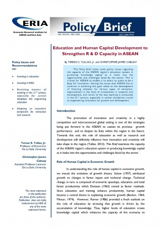 Education and Human Capital Development to Strengthen R & D Capacity in ASEAN