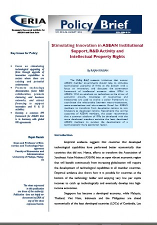 Stimulating Innovation in ASEAN Institutional Support, R&D Activity and Intellectual Property Rights