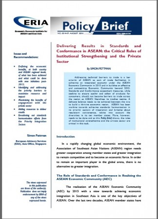 Delivering Results in Standards and Conformance in ASEAN: the Critical Roles of Institutional Strenghthening and the Private Sector