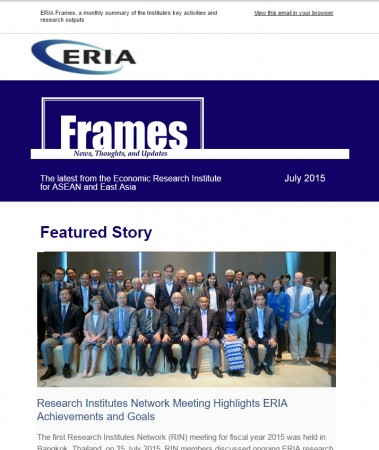 "ERIA official newsletter ""ERIA FRAMES"" (July 2015 Issue) released"