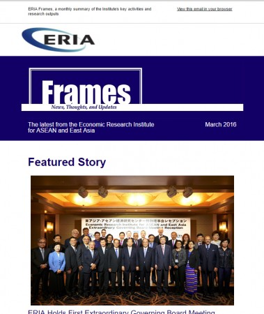 "ERIA official newsletter ""ERIA FRAMES"" (March 2016 Issue) released"
