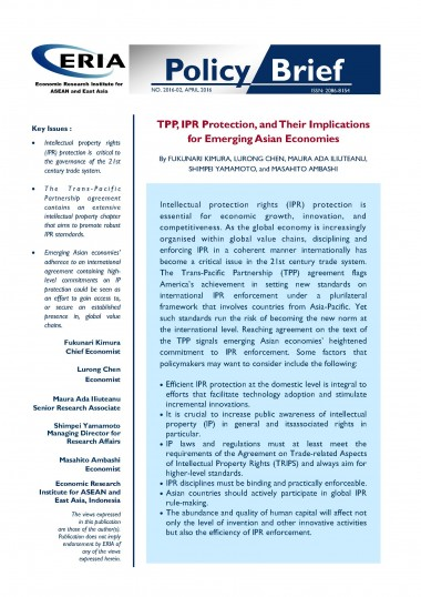 TPP, IPR Protection, and Their Implications for Emerging Asian Economies