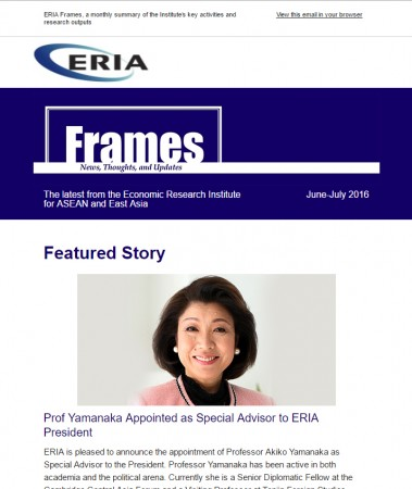 "ERIA official newsletter ""ERIA FRAMES"" (June-July 2016 Issue) released"