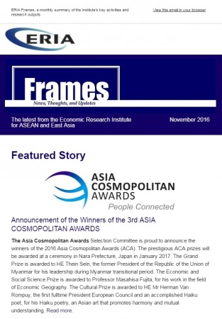 "ERIA official newsletter ""ERIA FRAMES"" (November 2016 Issue) released"
