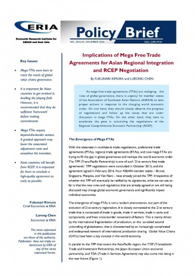 Implications of Mega Free Trade Agreements for Asian Regional Integration and RCEP Negotiation