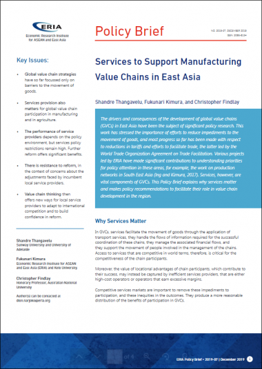 Services to Support Manufacturing Value Chains in East Asia