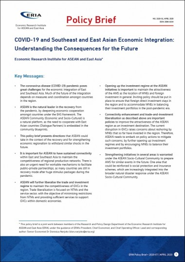 COVID-19 and Southeast and East Asian Economic Integration: Understanding the Consequences for the Future