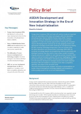 ASEAN Development and Innovation Strategy in the Era of New Industrialisation