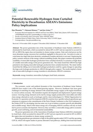 Potential Renewable Hydrogen from Curtailed Electricity to Decarbonize ASEAN's Emissions: Policy Implications